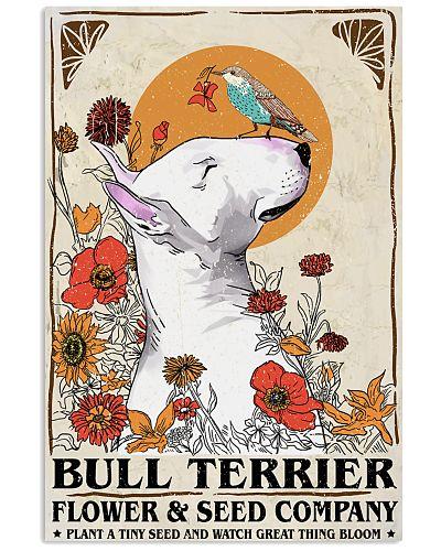 Bullterrier Flower Poster