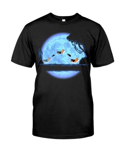 Basset Hound and moon