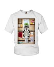 Alaskan Malamute Toilet Reading Newspaper Youth T-Shirt thumbnail