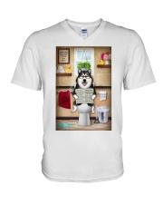 Alaskan Malamute Toilet Reading Newspaper V-Neck T-Shirt thumbnail