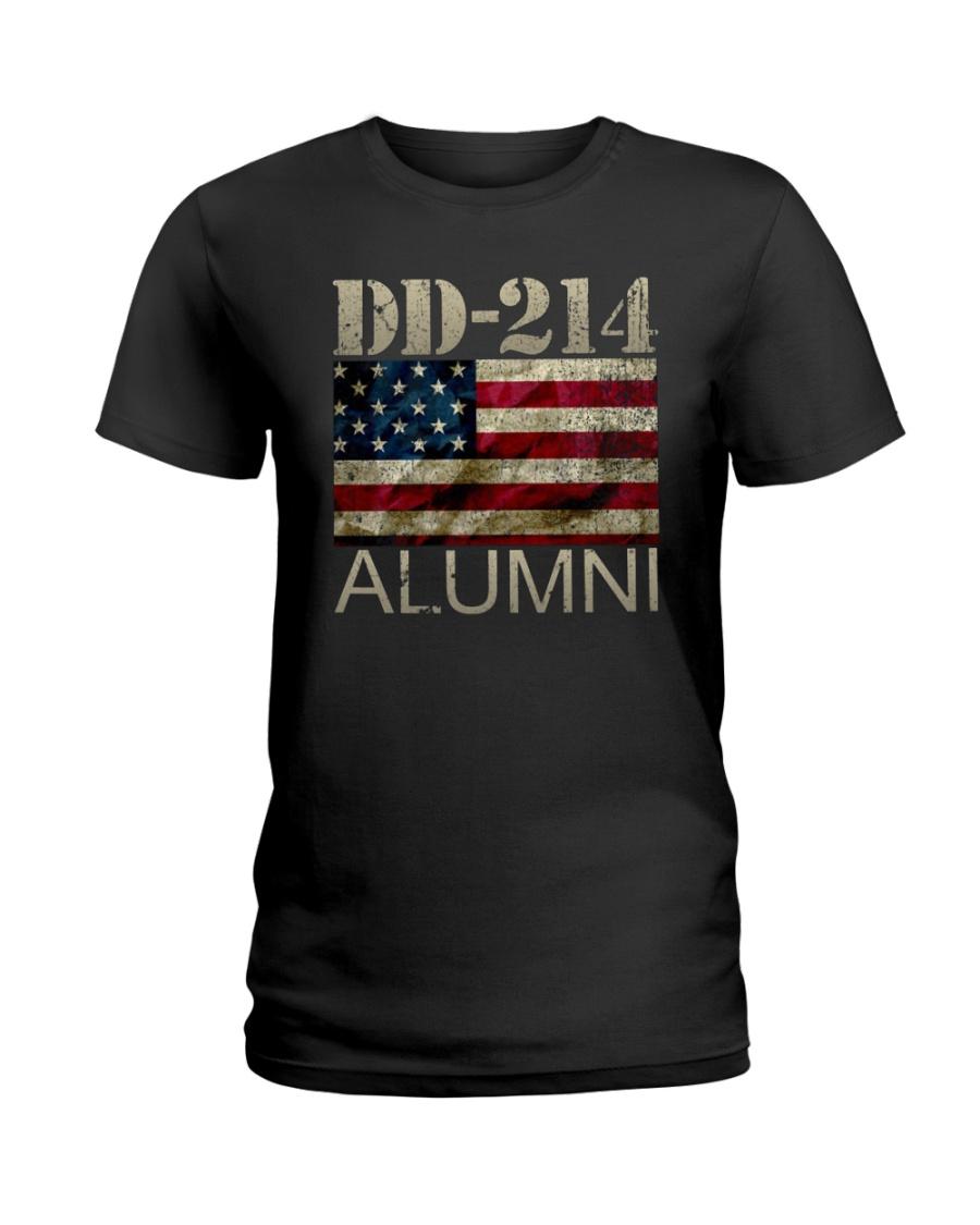 DD-214 Alumni American Flag Shirt Ladies T-Shirt