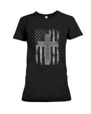 Thin Silver Line Corrections Officer Prayer Shirt Premium Fit Ladies Tee thumbnail