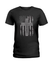 Thin Silver Line Corrections Officer Prayer Shirt Ladies T-Shirt thumbnail