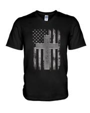 Thin Silver Line Corrections Officer Prayer Shirt V-Neck T-Shirt thumbnail