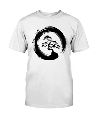 Japanese Style Bonsai Tree in Enso Circle T-Shirt