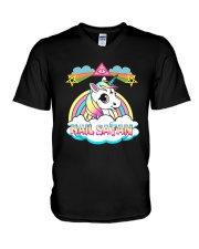 Unicorn hail satan death metal rainbown t-shirt V-Neck T-Shirt thumbnail