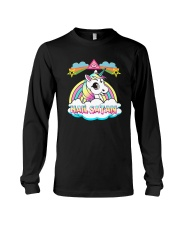 Unicorn hail satan death metal rainbown t-shirt Long Sleeve Tee thumbnail