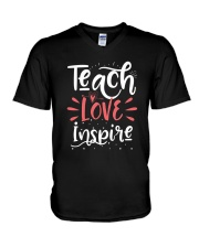 Teach Love Inspire Teacher Teaching T-Shirt V-Neck T-Shirt thumbnail