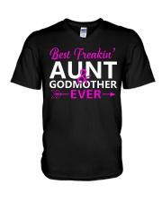 Freakin Aunt And Godmother Shirt V-Neck T-Shirt thumbnail