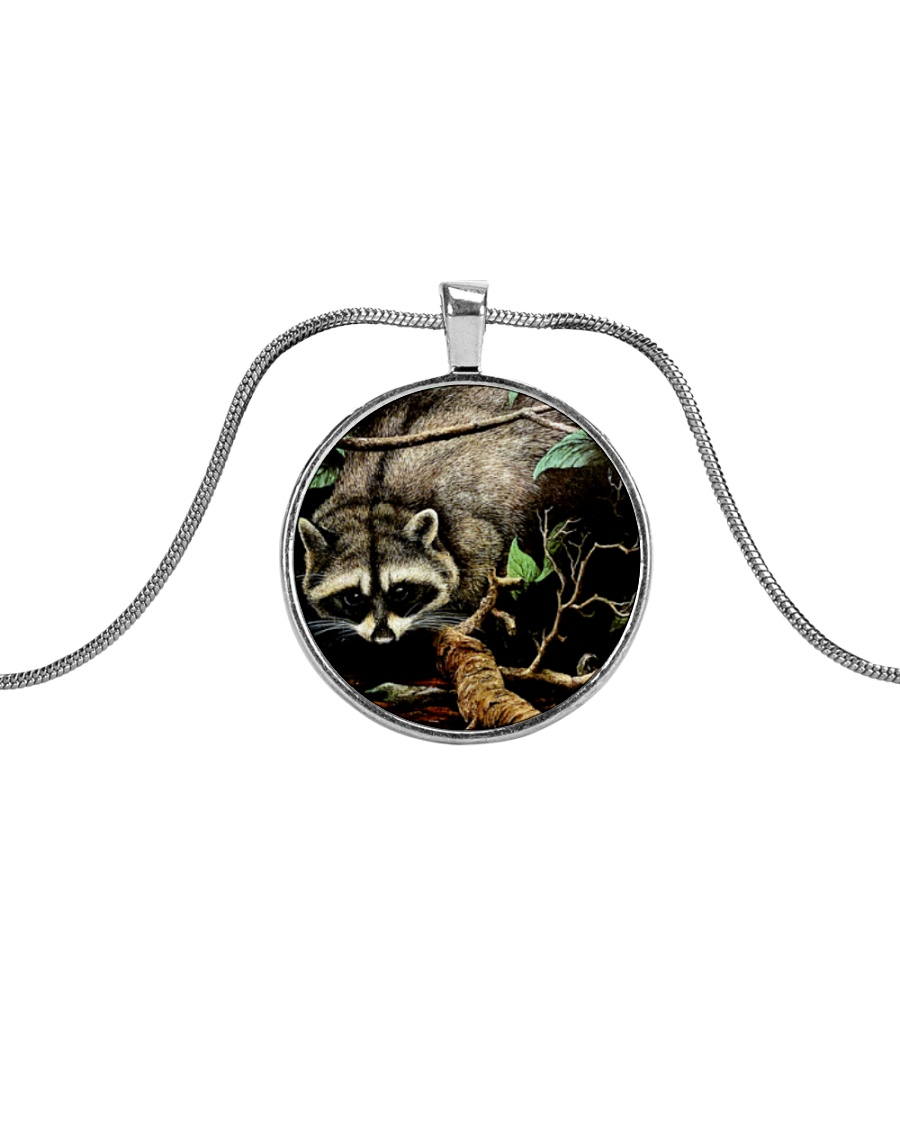 Designer Racoon Forest life  Metallic Circle Necklace
