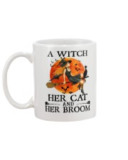 A Witch Her Cat and Her Broom Mug back