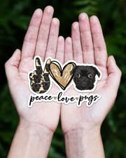 peace love pug  Sticker - Single (Horizontal) aos-sticker-single-horizontal-lifestyle-front-20
