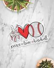 Peace love baseball Sticker - Single (Horizontal) aos-sticker-single-horizontal-lifestyle-front-06