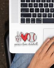 Peace love baseball Sticker - Single (Horizontal) aos-sticker-single-horizontal-lifestyle-front-11