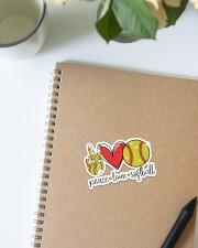 Peace love softball Sticker - Single (Vertical) aos-sticker-single-vertical-lifestyle-front-16