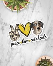 Peace Love Catahoula Sticker - Single (Horizontal) aos-sticker-single-horizontal-lifestyle-front-06