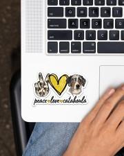 Peace Love Catahoula Sticker - Single (Horizontal) aos-sticker-single-horizontal-lifestyle-front-11