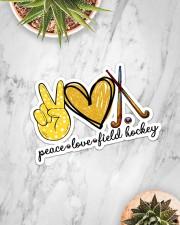 Peace Love Field Hockey Sticker - Single (Horizontal) aos-sticker-single-horizontal-lifestyle-front-06