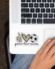 Peace Love Soccer Sticker - Single (Horizontal) aos-sticker-single-horizontal-lifestyle-front-11