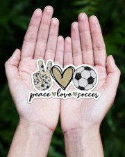 Peace Love Soccer Sticker - Single (Horizontal) aos-sticker-single-horizontal-lifestyle-front-20