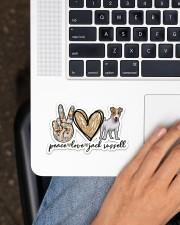 Peace love jack russell Sticker - Single (Horizontal) aos-sticker-single-horizontal-lifestyle-front-11