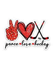 Peace Love Hockey Red And Black Sticker - Single (Horizontal) front