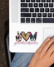 Peace love frenchie Sticker - Single (Horizontal) aos-sticker-single-horizontal-lifestyle-front-11