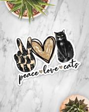 Peace love black cat Sticker - Single (Horizontal) aos-sticker-single-horizontal-lifestyle-front-06