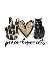 Peace love black cat Sticker - Single (Horizontal) front