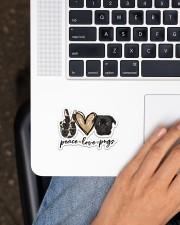 peace love pug Sticker - Single (Vertical) aos-sticker-single-vertical-lifestyle-front-11