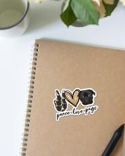 peace love pug Sticker - Single (Vertical) aos-sticker-single-vertical-lifestyle-front-16