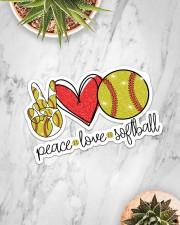 Peace Love softball Sticker - Single (Horizontal) aos-sticker-single-horizontal-lifestyle-front-06
