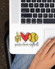 Peace Love softball Sticker - Single (Horizontal) aos-sticker-single-horizontal-lifestyle-front-11