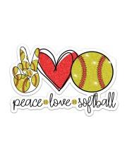 Peace Love softball Sticker - Single (Horizontal) front