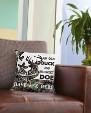 An old buck and his sweet doe Square Pillowcase aos-pillow-square-front-lifestyle-03