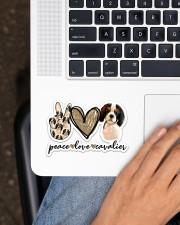 Peace Love Cavalier Sticker - Single (Horizontal) aos-sticker-single-horizontal-lifestyle-front-11