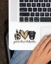 peace love labrador black Sticker - Single (Horizontal) aos-sticker-single-horizontal-lifestyle-front-11