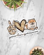 peace love pomeranian  Sticker - Single (Horizontal) aos-sticker-single-horizontal-lifestyle-front-06