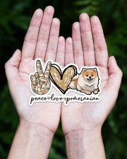 peace love pomeranian  Sticker - Single (Horizontal) aos-sticker-single-horizontal-lifestyle-front-20
