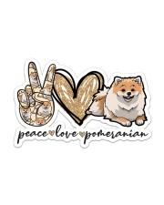 peace love pomeranian  Sticker - Single (Horizontal) front