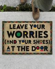 """Leave your worries Doormat 22.5"""" x 15""""  aos-doormat-22-5x15-lifestyle-front-01"""