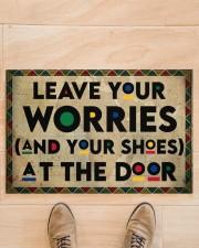 """Leave your worries Doormat 22.5"""" x 15""""  aos-doormat-22-5x15-lifestyle-front-02"""