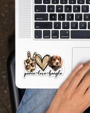 Peace love beagle Sticker - Single (Horizontal) aos-sticker-single-horizontal-lifestyle-front-11