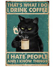 Black Cat Drinks Coffee 11x17 Poster front