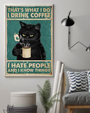 Black Cat Drinks Coffee 11x17 Poster lifestyle-poster-1