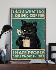 Black Cat Drinks Coffee 11x17 Poster lifestyle-poster-2