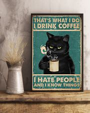 Black Cat Drinks Coffee 11x17 Poster lifestyle-poster-3