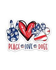 Peace love dog USA Sticker - Single (Vertical) front