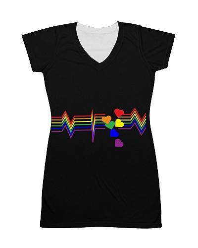 Life line heart beat rainbow t-shirt LBGTQ