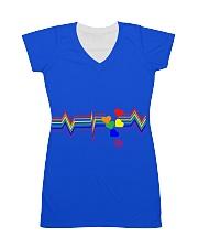 Life line heart beat rainbow t-shirt LBGTQ All-over Dress thumbnail